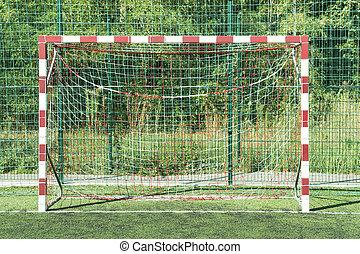 Striped mini football goal