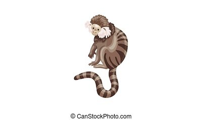 Striped monkey icon animation best on white background for any design