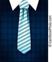 Striped necktie on checkered pullover vector design