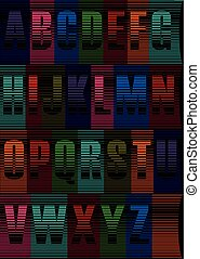 Striped Night Font. Vector Illustration - Each Letter has...