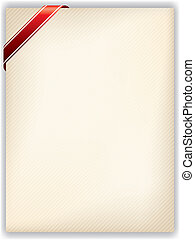 Striped note with striped red ribbon