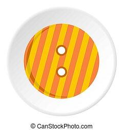 Striped orange and yellow clothing button icon