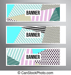 Striped pattern banners - Abstract striped banners for...