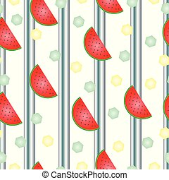 striped pattern with watermelon vector and polka dots