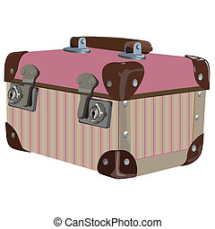 Striped Pink Retro Luggage - Vintage suitcase pink with...