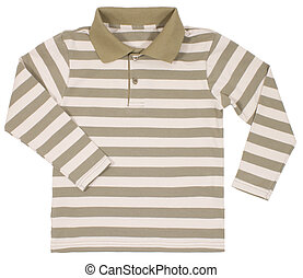 Striped polo shirt for children isolated on white