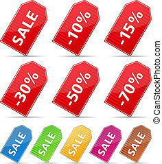 Striped price tags with discounts, vector eps10 illustration