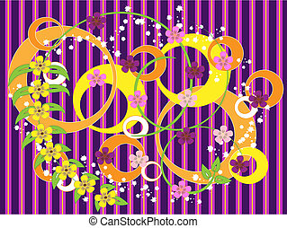 Striped purple  background with flo