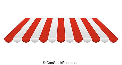 Striped red and white tent. Vector illustration - Awning...