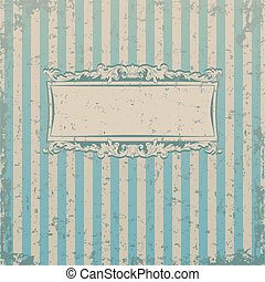Striped retro background with floral decor and place for you...