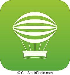 Striped retro hot air balloon icon digital green