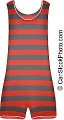 Striped retro swimsuit in red and black design