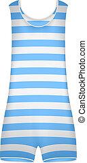 Striped retro swimsuit isolated on white background