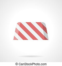 Striped road block flat color vector icon
