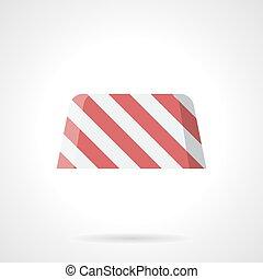 Striped road block flat color vector icon