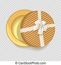 Striped round empty gift box with silk bow made of ribbon...
