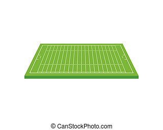 Striped rugby field. View from above. Vector illustration on white background.