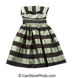 Striped satin puffed strapless dress - Bicolor striped satin...