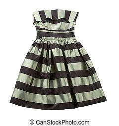 Striped satin puffed strapless dress - Bicolor striped satin...