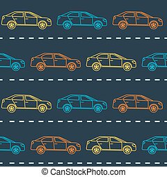 Striped seamless pattern with cars