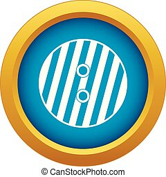 Striped sewing button icon blue vector isolated