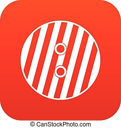 Striped sewing button icon digital red