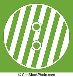 Striped sewing button icon green