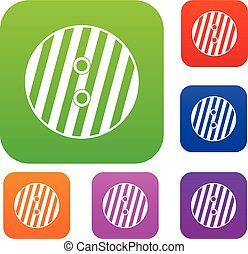 Striped sewing button set color collection