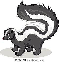 This image is a Striped Skunk in Cartoon Illustration