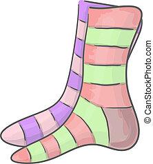 Striped socks - Different striped unpaired socks eps 10 ...