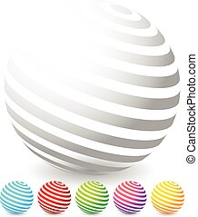 Striped spheres in 6 colors.