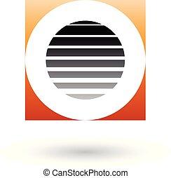 Striped Square Orange and Black Icon for Letter O Vector Illustration