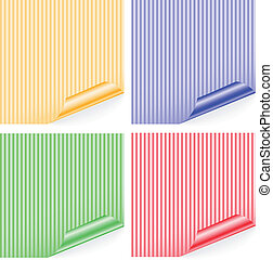 striped stickers - four striped colored sticker with curled...