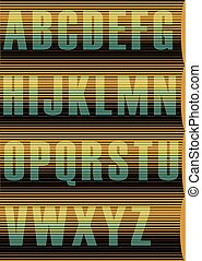Striped Sunblind Alphabet. Vector Illustration - Yellow blue...