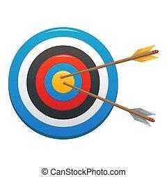 Striped target icon, cartoon style
