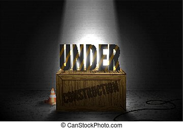 Striped text standing on the wooden box in a bright beam of limelights on a brick wall grunge black background. Vector illustration of web error 404 page not found in spotlights glow.
