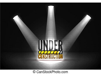 Striped text with a progress bar in a bright beam of limelights on a brick wall grunge black background. Vector illustration of web error 404 page not found in spotlights glow.
