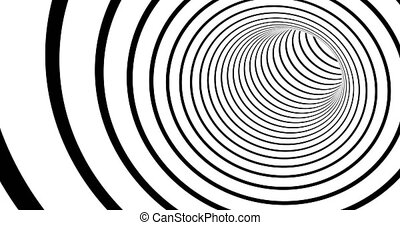 Striped tunnel 3d optical illusion footage. Monochrome torus...