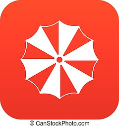 Striped umbrella icon digital red