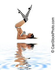 striped underwear supported shoulderstand on white sand #2