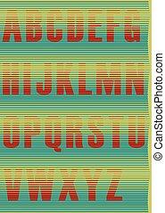 Striped unusual font - Striped Jalousie Alphabet. Vector...
