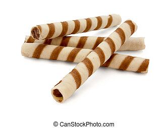wafer rolls - Striped wafer rolls filled with chocolate...