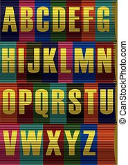 Striped Yellow Alphabet. Vector Illustration - Each Letter...