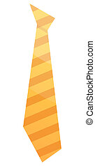 Striped yellow tie icon, isometric style