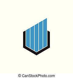 stripes hexagonal geometric line logo vector