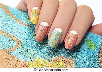 stripes., manicure