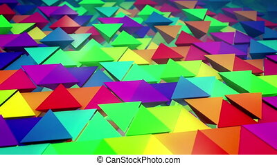 """Cheerful 3d rendering of colorful pyramids located horizontally in straight and long lines with some pyramids pushed out with bottoms up. It looks original, childish and impressive."""