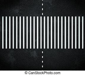Stripes on Asphalt Road