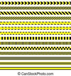 stripes., tapes., ensemble, avertissement, sécurité
