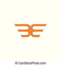 stripes wings simple geometric logo vector